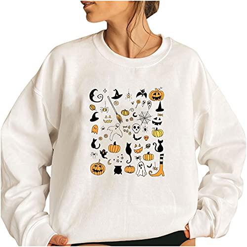 Women Halloween Solid Graphic Tops,Crewneck Y2k Solid Long Sleeve Sweatshirt,Trendy Loose Fit Workout Vintage Pullover