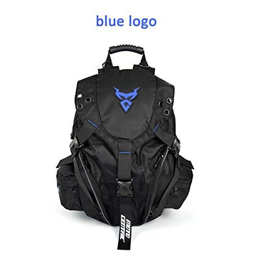 Winner Motorradrucksack, 58 l Moto, zentrisch, Outdoor-Sport, Reiten, Paket Motorrad mit Reflektierenden Streifen für Helmhalter/Fahrradhelm-Aufbewahrung/Wanderhelm-Auffangtasche/Rucksack, Blue Logo