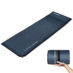 KingCamp Classic Self-inflating sleeping pad with integrated pillow comfort for 1 person