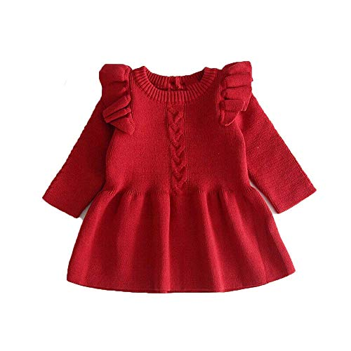 Cute Winter Warm Kids Baby Girls Sweaters Dress Ruffle Solid Children Sweater Toddler Red 2T
