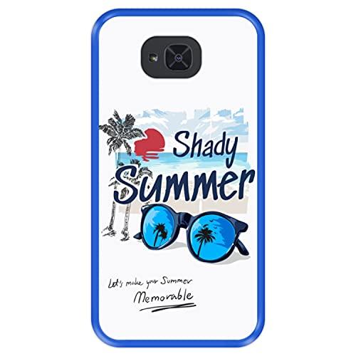 Hapdey Funda Azul para [ Bq Aquaris U2 - U2 Lite ] diseño [ Verano, Vacaciones, Playa - Shady Memorable Summer ] Carcasa Silicona Flexible TPU