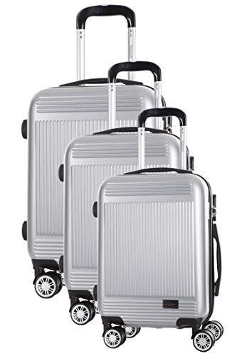 Juego de 3 maletas de 8 ruedas S/M/L, color plateado granada
