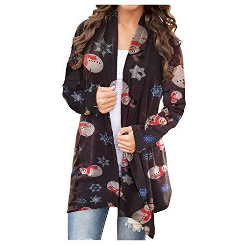 Cardigan Sweatshirts for Women Christmas Snowman Graphic Long Sleeve Open Front Cardigan Coat Loose Flowy Outwear Coat Black