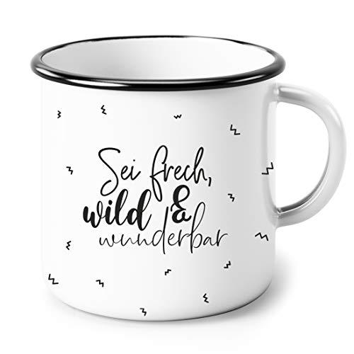 Heldenglück Emaille Tasse   Frech wild und wunderbar   Geschenk   Frau   Freundin   Becher   Kaffeetasse   Geburtstagsgeschenk   Emailletasse