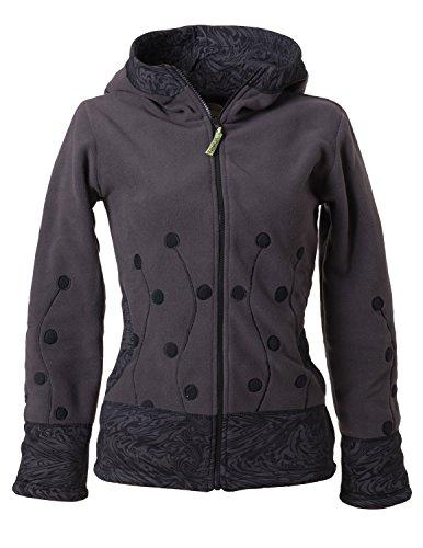 Vishes – Alternative Bekleidung – warme Damen Fleece Jacke mit Stehkragen und Zipfelkapuze Grauschwarz 34/36