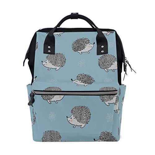 Hedgehog Barbed Animal lindo Bolsas de pañales de gran capacidad Mamá Mochila Múltiples funciones Bolso de lactancia Bolso Tote Bolso para niños Cuidado de bebés Viajes diarios Mujeres