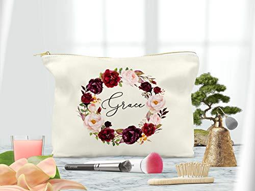 Make-up-Tasche für Brautjungfern, Hochzeit, Party, Kosmetiktasche, Marsala, personalisierbar