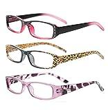 SOOLALA 3-Pairs Womens Designer Fashion Rhinestone Lightweight Reading Glasses, 3.0D