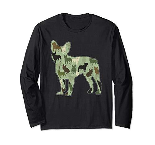French Bulldog Camo Dog Camouflage Novelty Long Sleeve Shirt