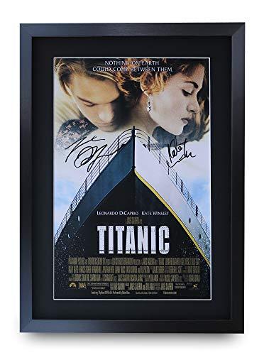 HWC Trading Titanic A3 Gerahmte Signiert Gedruckt Autogramme Bild Druck-Fotoanzeige Geschenk Für Leonard Dicaprio Kate Winslet Filmfans