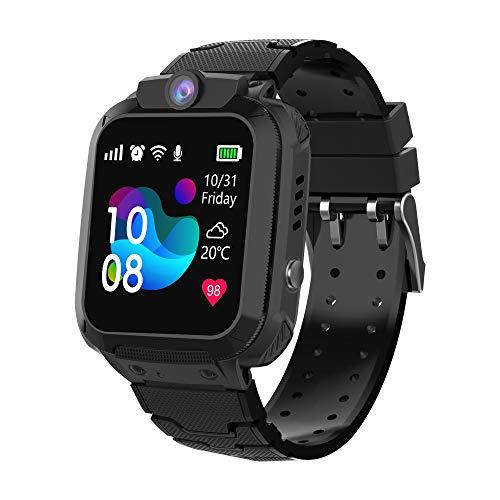 Zeerkeer Reloj Inteligente para niños, Smartwatch Niños con LBS, IP67 Impermeable Llamada Bidireccional Reloj Despertador Infantil SOS Cámara Frontal Mejor Regalo(S12 Negro)