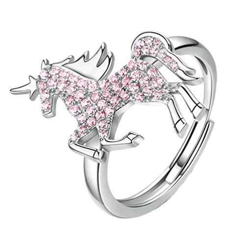 FENICAL Anillo de joyería de Unicornio Animal circón Anillo Ajustable Envoltura Anillo Abierto niñas Mujeres