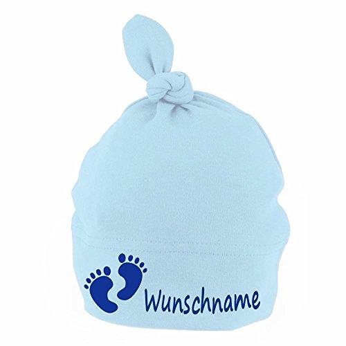 Elefantasie Baby Mütze mit Knoten personalisiert mit Namen oder Text aus Baumwolle Motiv Füße hellblau