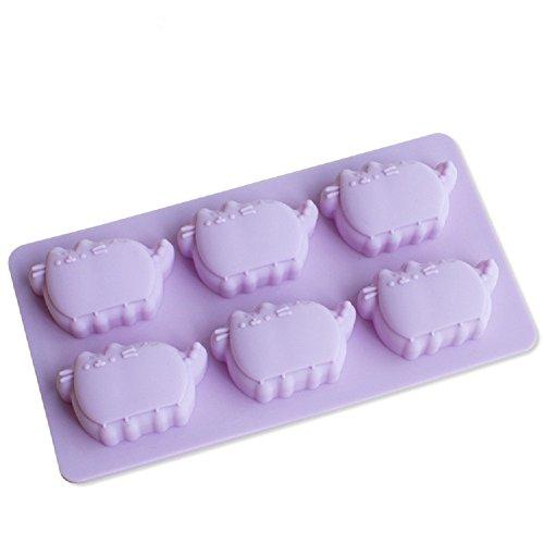 Hangnuo stampo in silicone per cioccolato, caramelle, cubetti di ghiaccio e panetti colorati, 6 formine a forma di gatto