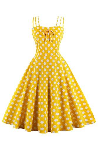 MisShow Damen Sommerkleid Knielang 50er Jahre Kleid Retro Vintage Rockabilly Kleid Petticoat Kleid Größe S Gelb