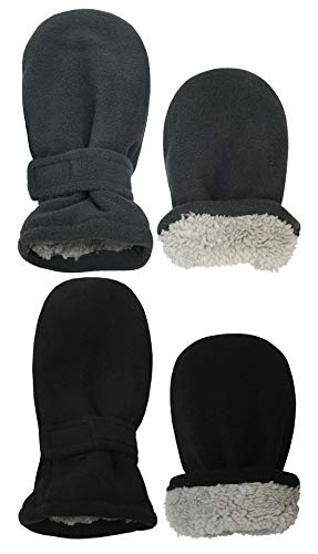 N'Ice Caps Little Kids and Baby Easy-On Sherpa Lined Fleece Mittens - 2 Pair Pack (Black/Charcoal Pack - Infant No Thumbs, 6-18 Months)