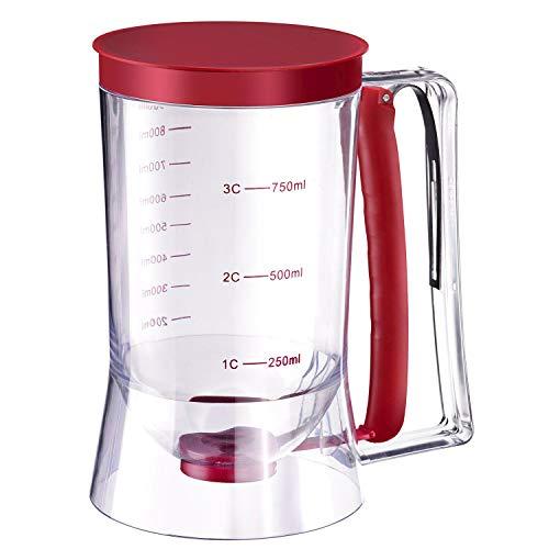 Westmark Teigportionierer mit Deckel und Skala, Fassungsvermögen: 900 ml, Kunststoff, Transparent/Rot, 30122260