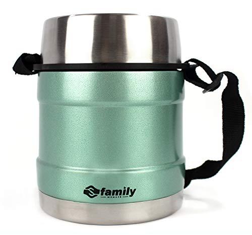 FAMILY Termo para Comidas de Acero Inoxidable, Recipiente Aislado para Sólidos y Líquidos con Recipiente Interiores para Sopas, Salsas o Ensaladas (Turquesa, 0.75L)
