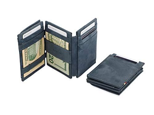 Garzini Geräumiger Intelligenter Magischer Geldbeutel aus echtem Leder mit RFID-Blocker, Ausweisfenster und Münzfach für Männer