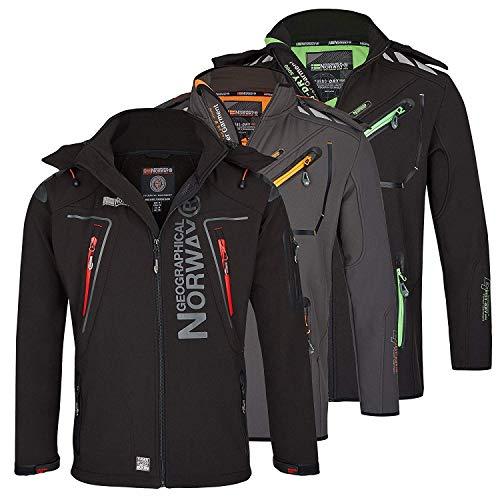 Geographical Norway Herren Softshell Funktions Outdoor Jacke wasserabweisend im Bundle mit urbandreamz Beanie (3XL, Schwarz TN)