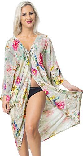 LA LEELA Seda Kimono Impreso Corta Beach Cover Up para Mujer Suelta Ropa de Playa Encubrimiento de baño Bikini Vestido para la Playa, un tamaño Multi_X710