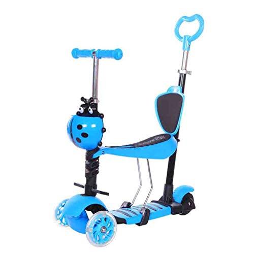 WJJ Patinetes para Niños Niños Scooter Tabla de flotación Triciclo 3en1 4 etapas Ajustable de 1-9 años de Edad, Regalo Brillante Ruedas for los niños Lactantes (Color : Blue)