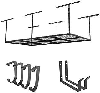FLEXIMOUNTS 2-Piece Overhead Garage Storage Rack Set w/Hooks Adjustable Ceiling Storage Racks, 96