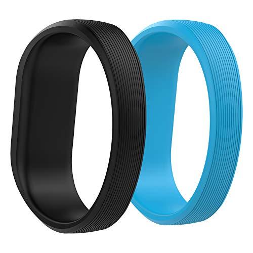 "MoKo Kompatibel mit Garmin Vivofit JR/Vivofit JR 2/Vivofit 3 Armband, 2 Pack Silikon Uhrenarmband Sportarmband Erstatzband mit Schließe, 5.51\""-5.7\"" (140mm-145mm) - Schwarz & Blau"