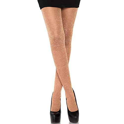 Leg Avenue Womens Lurex Shimmer Tights, O/S, Rose Gold,One Size