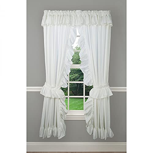 Ellis Curtain 2-Piece Ruffled Priscilla Window Curtain Panel Pair with Ties - 80x72 Natural