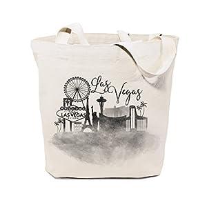 The Cotton & Canvas Co. Las Vegas Cityscape, Souvenir, Beach, Shopping and Travel Reusable Shoulder Tote and Handbag by The Cotton & Canvas Co.