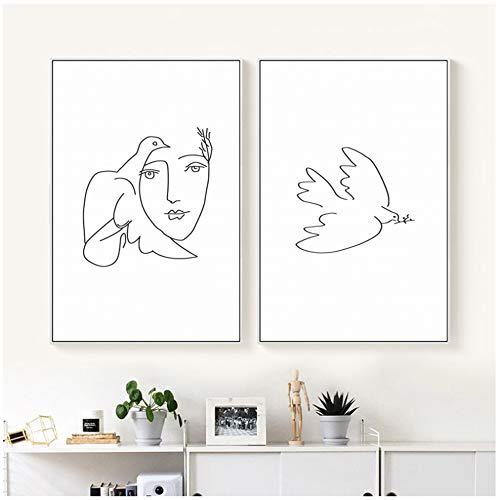 NIEMENGZHEN Malerei Leinwanddruck Poster Picasso Friedenstaube Abstrakte Schwarzweiß Linie Kunst Bild Wand Wohnzimmer Home-50x70cm Kein Rahmen
