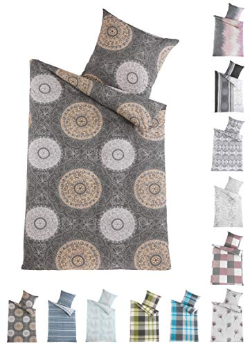 BaSaTex Renforcé Bettwäsche Set | 100% Baumwolle | 135x200 cm + 80x80 cm | Reißverschluss | AVA