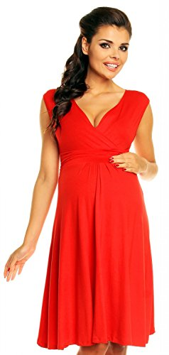 Zeta Ville Damen Schönes Umstandskleid Sommer Kleid Zum Stillen Geeignet 256c (Rot, 42, XL)