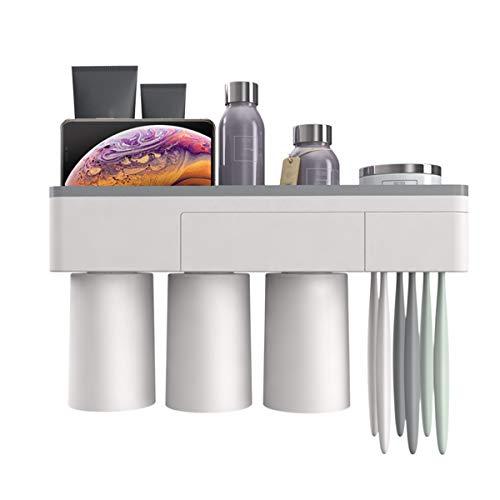 Kitchnexus Wand Montiert Zahnbürstenhalter Zahnbürsten-Organizer mit Magnetisch Bechern, Montage Ohne Bohren und Schrauben, Ideal für Kinder und Erwachsene