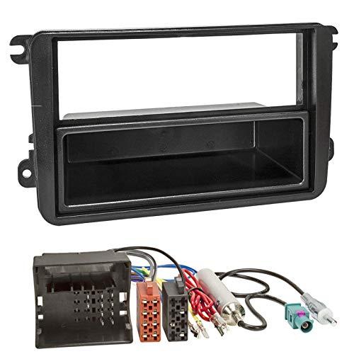 sound-way Kit Montage Autoradio, Cadre Façade 1 DIN, Adaptateur Antenne Fakra, Cable Adaptateur Connecteur ISO, Compatible avec Volkswagen, Skoda, Seat