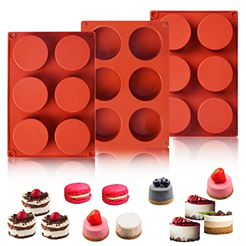 3-pack Chocolate Cake Cookie Mold 6-Cavity Round Silicone Baking Molds for Cylinder Candy Jello Cake Chocolate Covered Sandwich Cookies, Handmade Resin Mini Soap