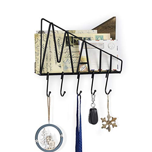 SRIWATANA Letter Mail Holder Wall Mount, Rustic Bill Mail Organizer Hanging Key Holder with Five Removable Hooks