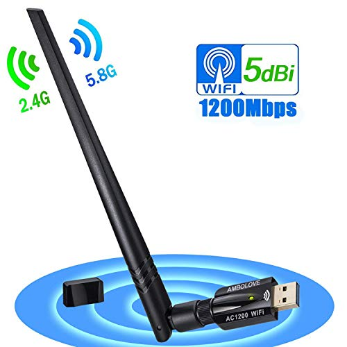 USB WiFi Adapter 1200Mbps, AMBOLOVE USB Wireless Network Adapter Wifi Card Dongle for Desktop PC Laptop, Supports Windows, Mac