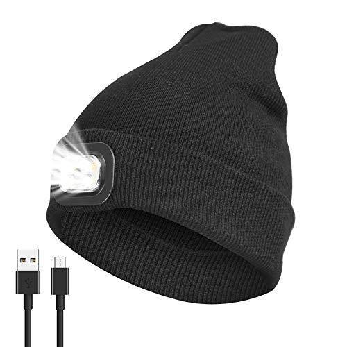 Led Mütze, Led Beanie Mütze mit Licht, Beleuchtete Mütze Aufladbar USB für Männer und Frauen,Einstellbare Helligkeit Stirnlampe Winter Beanie Mütze mit Licht,Unisex Winter Wärmer Strickmütze mit Licht