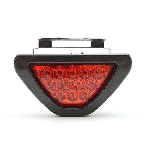 MOMOALA Moto Arrière Feux De Frein De Queue Feu Rouge Feu De Brouillard Stroboscope Flash 12 LED-Rouge