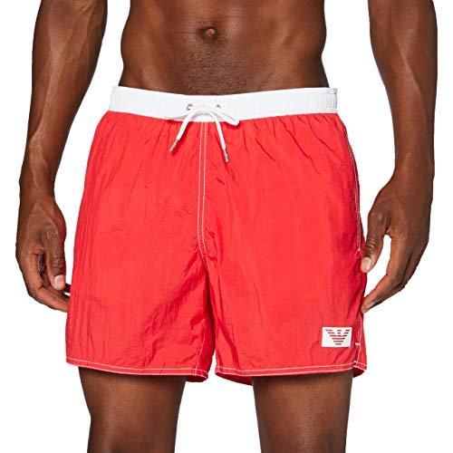 Emporio Armani Swimwear Herren Boxer Beachwear Recycled POP Contrast Badehose, Rot (Fiamma 00175), Medium (Herstellergröße: 50)