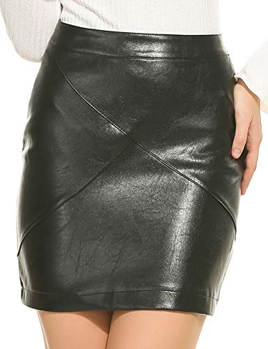 Zeagoo Women Basic Versatile Faux Leather Bodycon High Waisted Pencil Skirts, Black, XX-Large