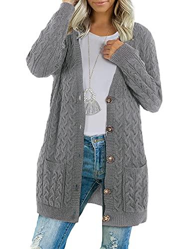 BMJL Chaqueta de punto para mujer, larga, botones abiertos, chaqueta de punto grueso, con bolsillos, tejido de punto, gris, XXL