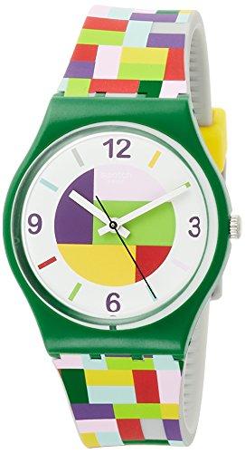 Swatch Damen Analog Quarz Uhr mit Silikon Armband GG224