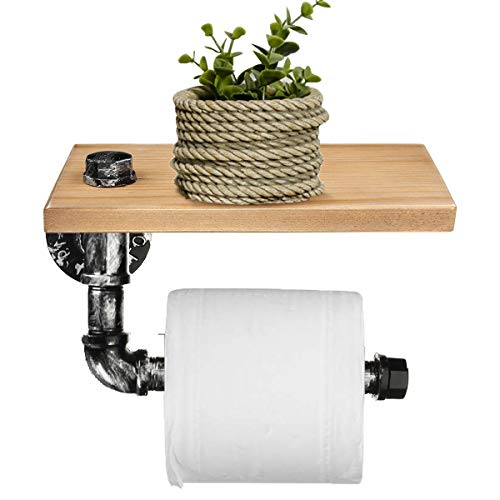 Charles Industrie Argent Urban Rustic Iron Pipe Toilet Paper Roller Holder Bathroom Shelf Storage