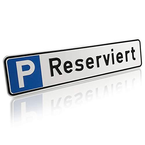 Betriebsausstattung24® Geprägtes Parkplatzschild aus Aluminium in Nummernschildform | Reserviert | KFZ-Kennzeichen | für Ihren Parkplatz & Stellplatz | Originalmaße 52,0 x 11,0 cm