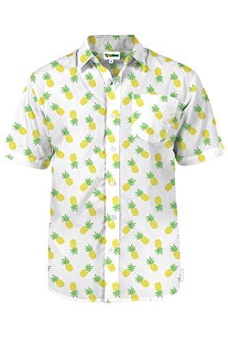 Tipsy Elves Men's Pineapple Parade Hawaiian Shirt: M White