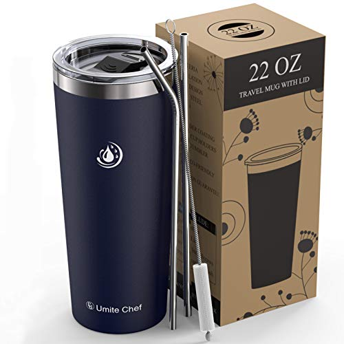 Umite Chef 22oz Tumbler Insulated Stainless Steel Travel Tumbler Mug with Lid, 2 Straws & Brush Durable Insulated Coffee Mug, Thermal Cup with Splash Proof Sliding Lid(Navy Blue)