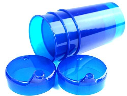 Medi-Inn Schnabelbecher 250 ml Praktisches Set: 5 Unterteile mit 10 Deckeln (5 x mit Öffnung 12 x 10 mm u. 5 x mit Öffnung 4 x 4 mm)   blau